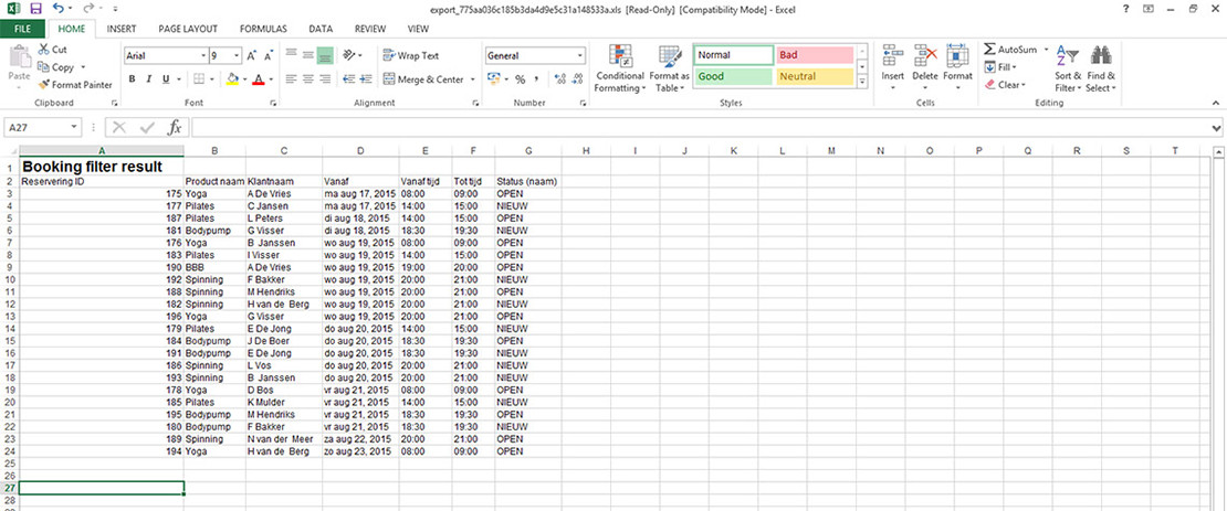 Rapportage (Excel bijlage) per mail